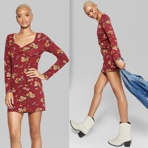 Wild Fable Ruched V-Neck Long Sleeve Floral Dress